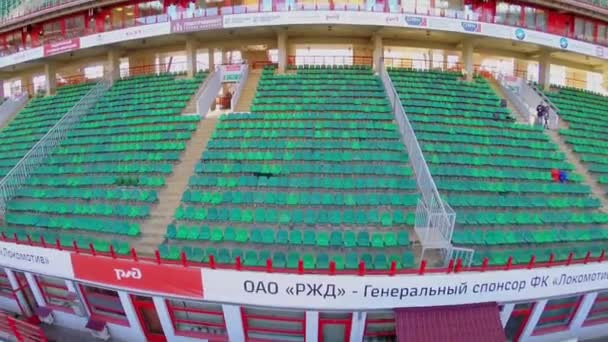 Locomotive soccer stadium with empty tribunes