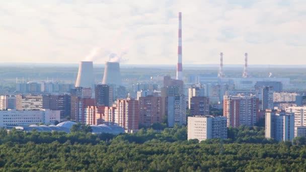 Kouř z komínů tepelné elektrárny