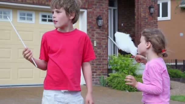 Dívka a chlapec jedí cukrovou vatu