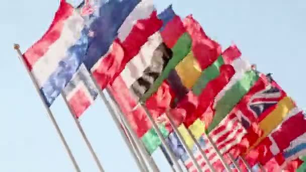 Nations flags on wind