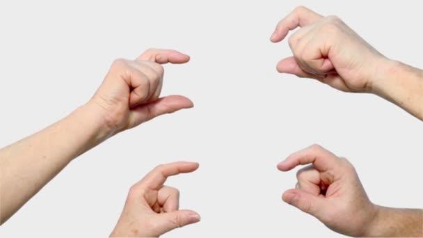 Čtyři starší ruce muže a ženy