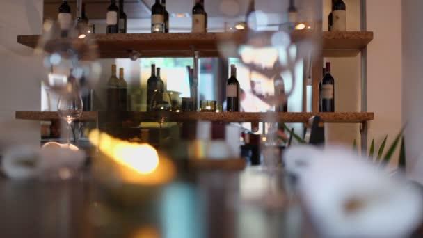 Bottles on shelf in restaurant