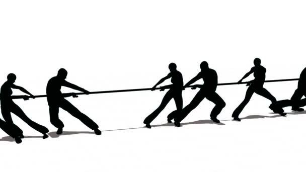Drehen Sie die Kontur drei gegen vier Krieg Seil Wettbewerb