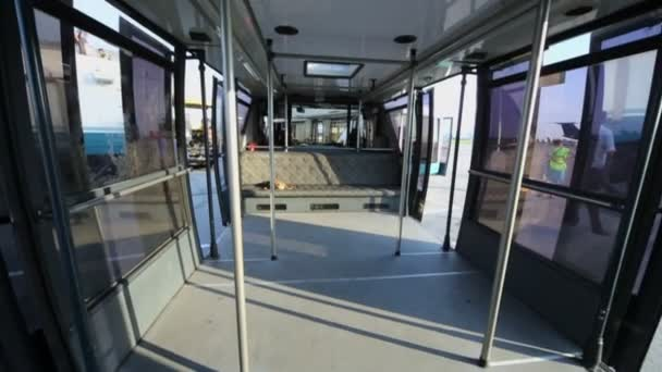 Empty bus for airport passengers transfer