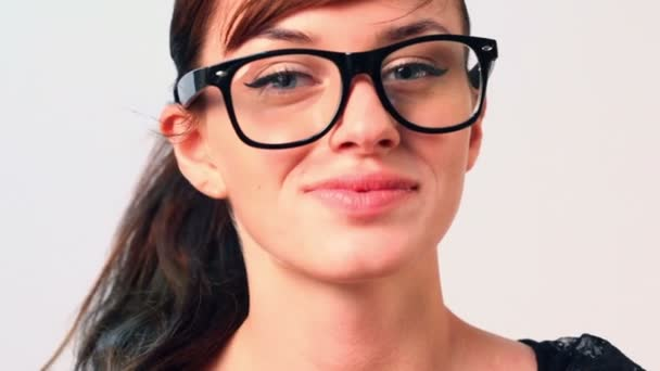Beautiful woman in big black glasses