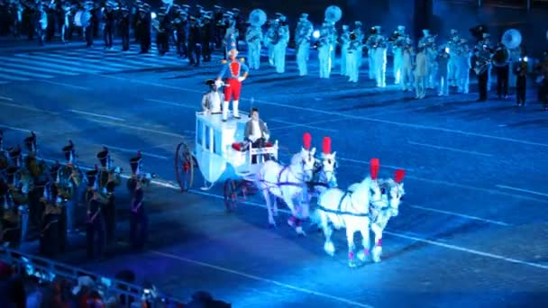 Nutcracker trumpeter rides on roof carriage