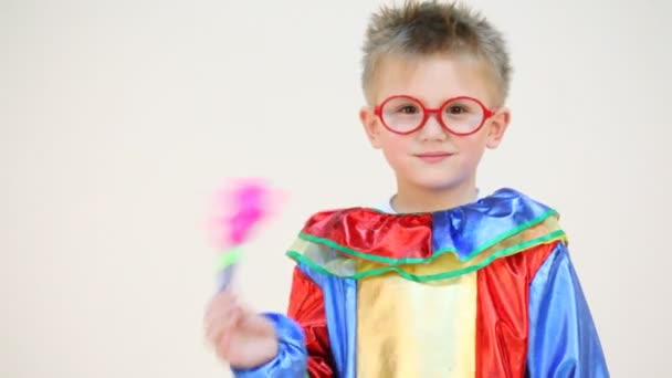 Little boy in costume with glasses