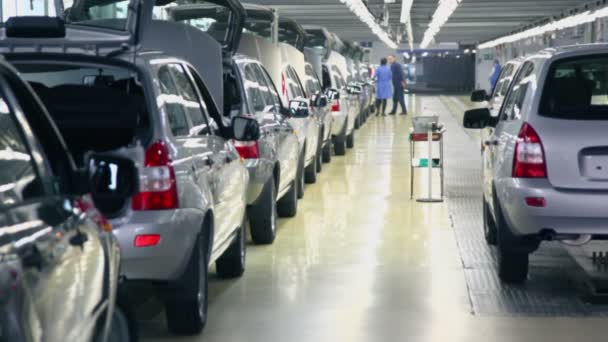 Row of new cars at Avtovaz factory