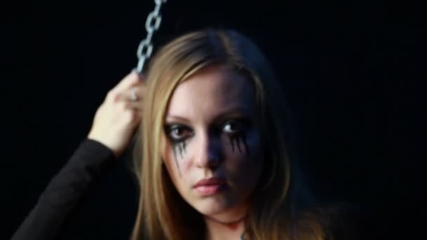 Zlý zombie holka s černými slzami