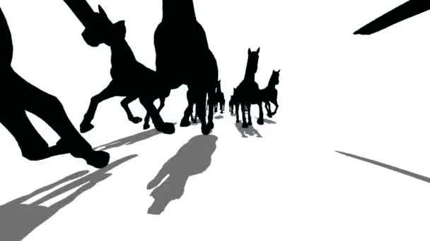 Viele Kontur Pferde laufen