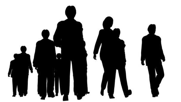 Silhouette of people walking forward