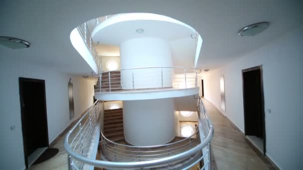 Hotel foyer with spiral staircase