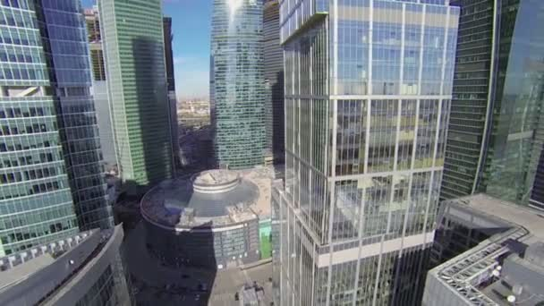 Moscow City skyscraper complex at sunny autumn day
