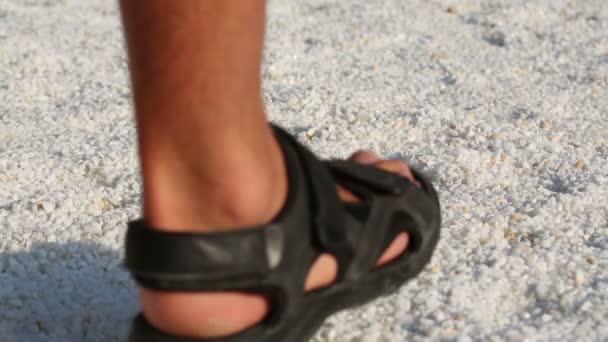 Male Feet In Black Sandals Stock Video 169 Paha L 74552969