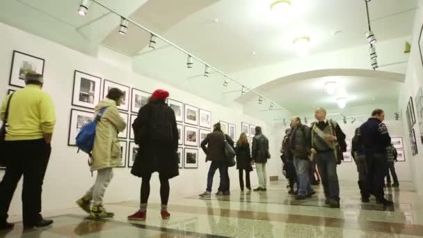 lidé se dívají na fotografie na výstavě