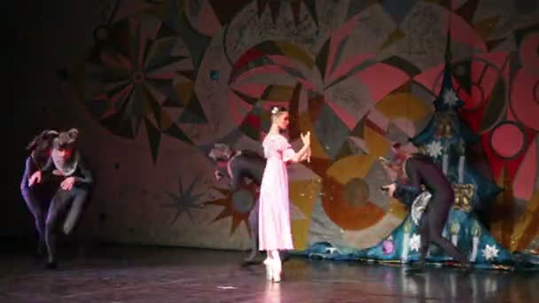 Mary and mice during ballet Nutcracker
