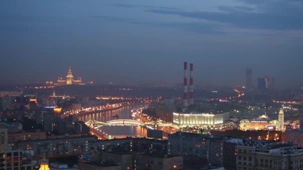 noční panorama Moskvy