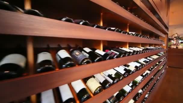 Shelves with wine in Zafferano restaurant