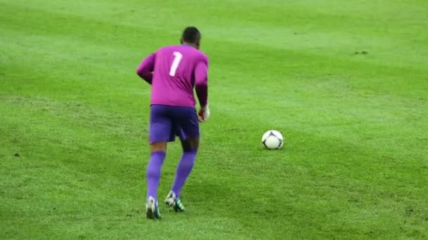 Goalkeeper serves ball on match at Stadium