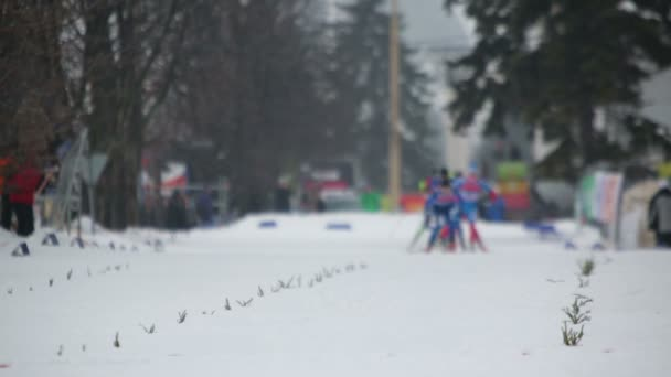 Skiers run during Continental Cup
