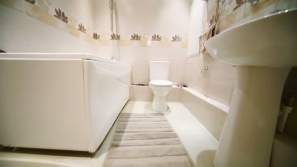 Modern light bathroom with bath
