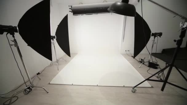 Photographic equipment and backdrop in studio.