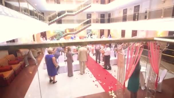 guests congratulate bride and groom stock video
