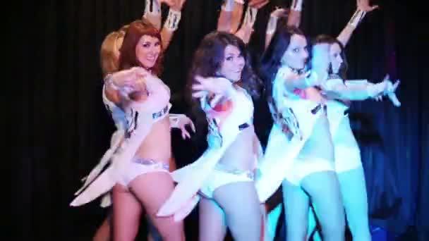 Dancing pretty women and singing man