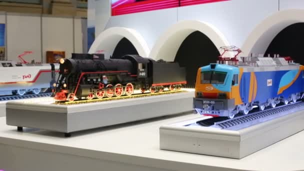 Model of trains at International Exhibition