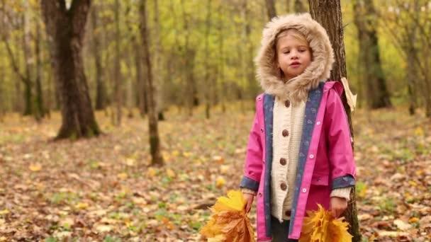 Happy little girl holds leaves