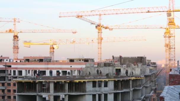 Mnoho stavebních jeřábů a stavitelé