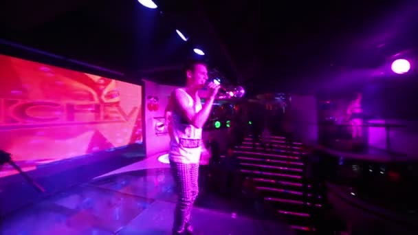 Singer performs on stage during party