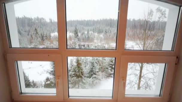 Blick aus dem großen Fenster auf den Schneewald