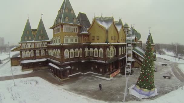 Wooden palace and christmas tree