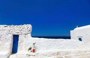 Traditional street of Mykonos island in Greece