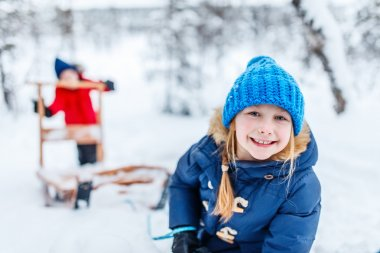 Kids outdoors on winter