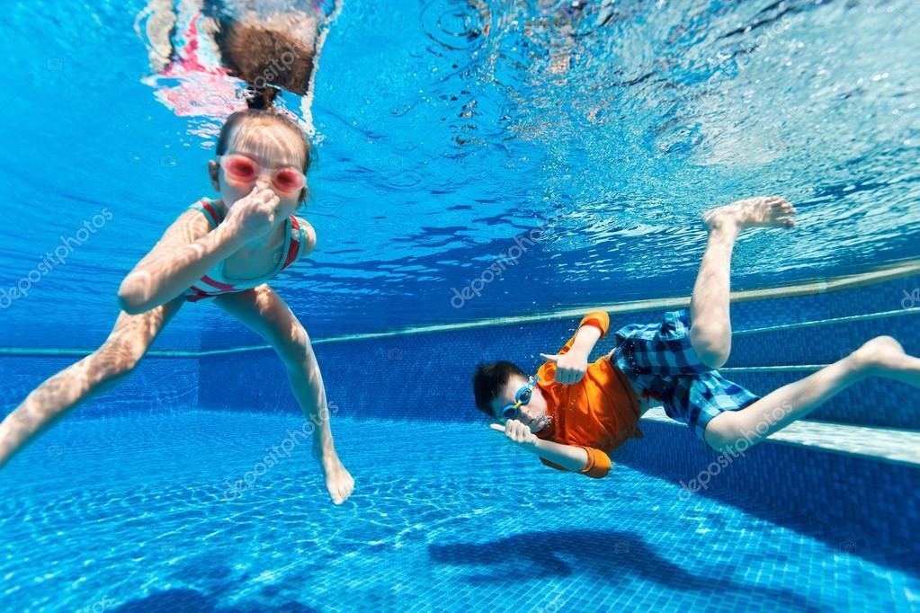kids swimming underwater stock photo 68882345 - Kids Swimming Underwater