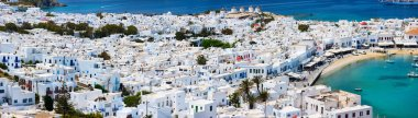 Traditional greek village with white houses on Mykonos Island, Greece, Europe stock vector