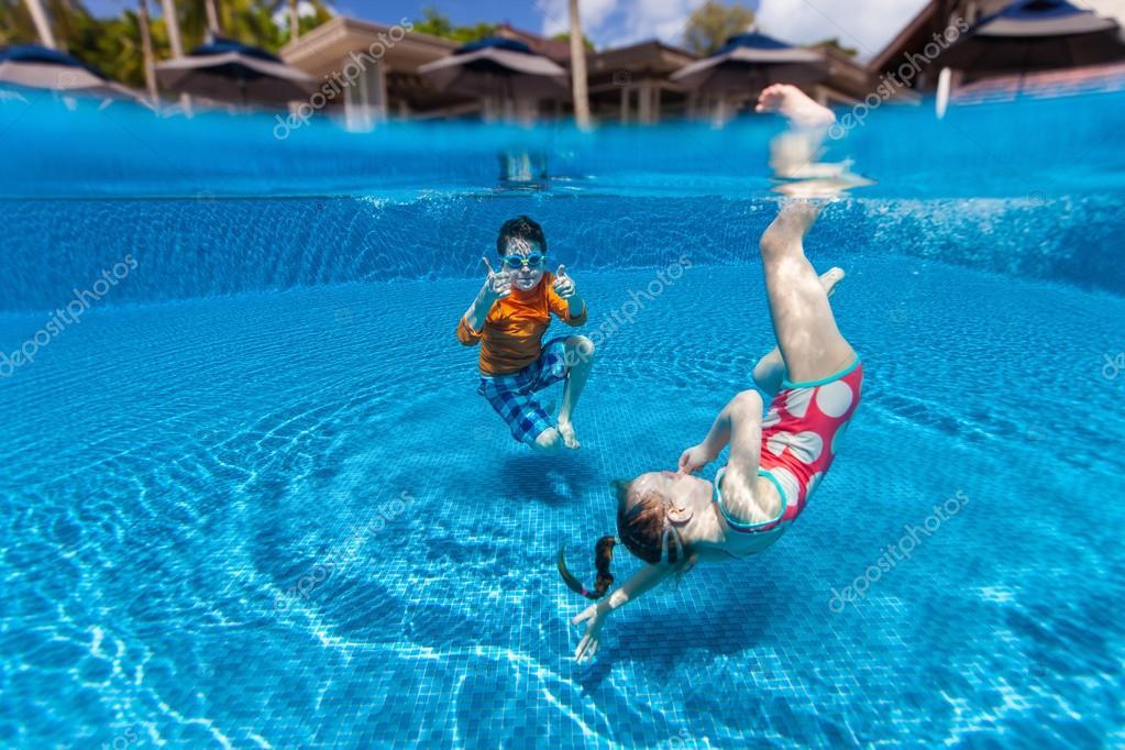 kids swimming underwater stock photo 83520378 - Kids Swimming Underwater