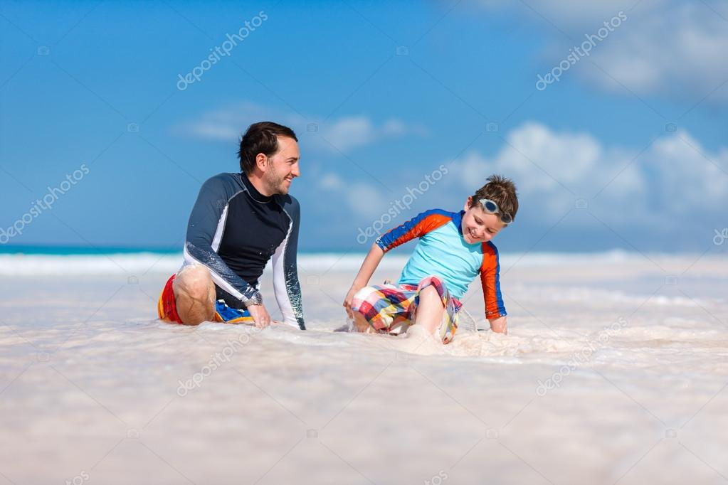 Father with son at beach