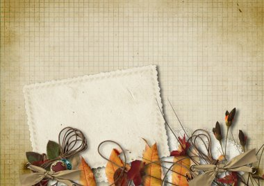 Grunge background with old card