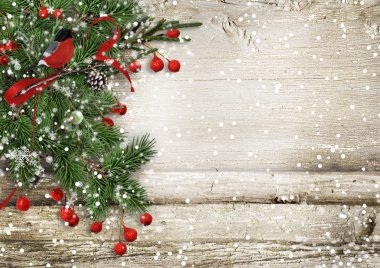 Christmas vintage wooden background
