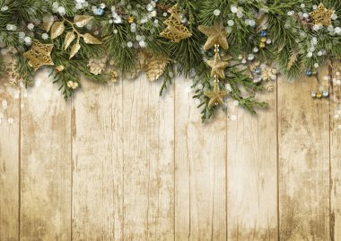 Christmas border with vintage decoration