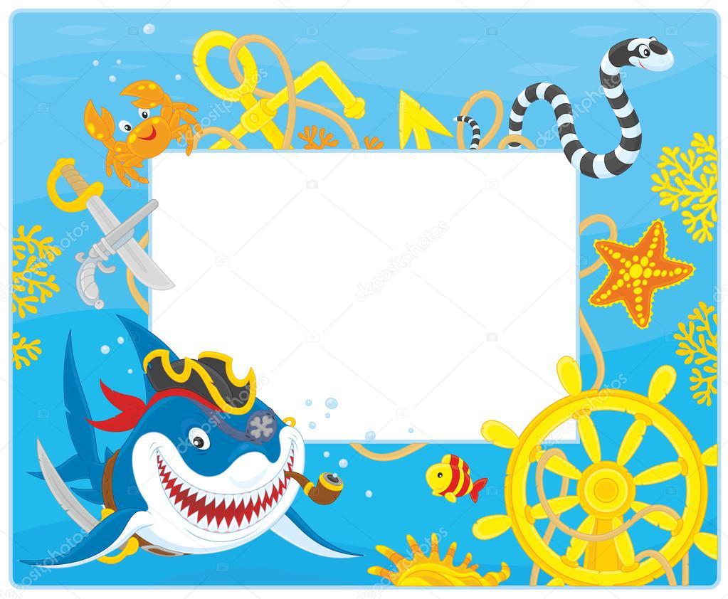 Rahmen mit einem Piraten-Hai — Stockvektor © AlexBannykh #104008976
