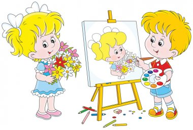 Little painter drawing a girl