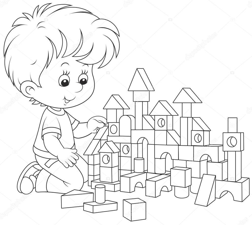 niño jugando con ladrillos — Vector de stock © AlexBannykh #106668068