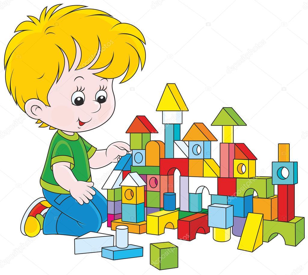 Boy playing with bricks