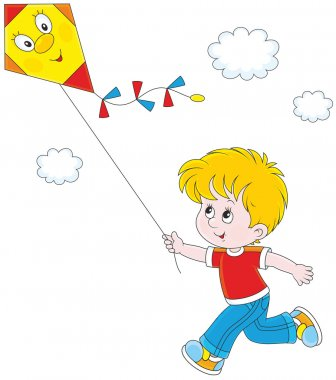 Vector illustration of a boy running and flying his kite stock vector