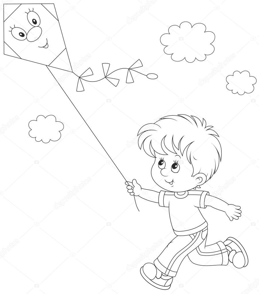 Bir Uçurtma Ile Küçük çocuk Stok Vektör Alexbannykh 109919098