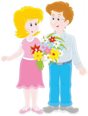 Loving couple with a bouquet